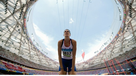 Kelly Sotherton competes in the heptathlon high jump at the National Stadium during the 2008 Beijing Olympic Games