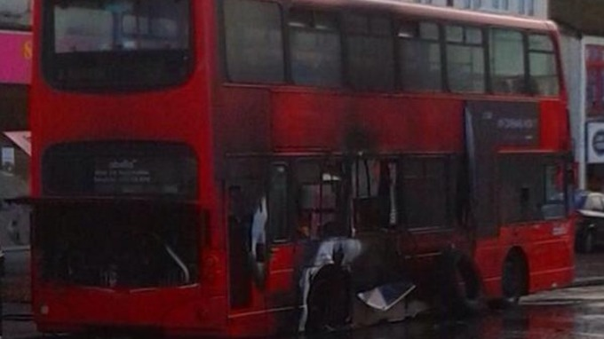 Remains of the bus following the fire in Wallington