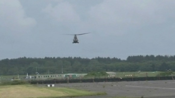 helicopter landing at Pembrey airport
