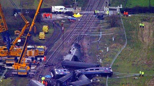 The wreckage at Ufton Nervet where seven people died