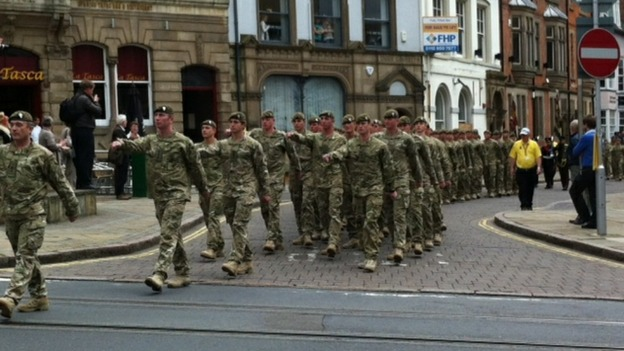 Three hundred soldiers from Nottingham are taking part in the parade