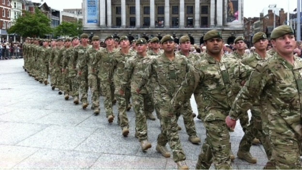Soldiers march in Nottingham homecoming parade today
