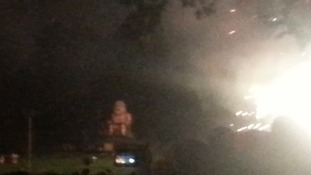 An effigy of what is understood to be Scotland's First Minister remained placed in front of the crowd in Lewes, Sussex, as the fireworks began.