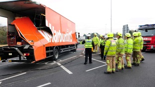 The bread lorry was left heavily damaged after the collision.