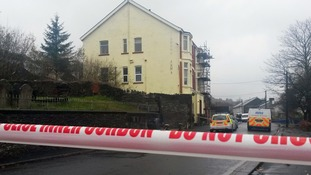 A police cordon at the hotel in Argoed, South Wales.