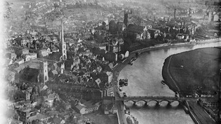 Worcester Bridge and Christ & St Mary's Cathedral, Worcester. March 1921.
