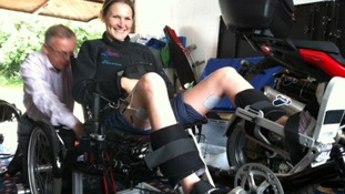Claire Lomas tries out her new bike