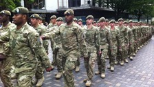 Soldiers from the 2nd Battalion the Mercian Regiment parade through Nottingham