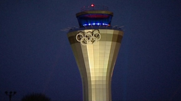 The Olympic rings at Birmingham Airport