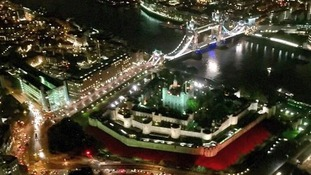 Helicopter photo reveals poppies at Tower of London.
