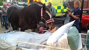 Sheila Marsh saying goodbye to her horse Bronwen