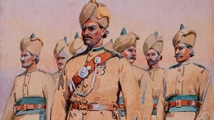 A painting of Pujabi Muslims in the British Army