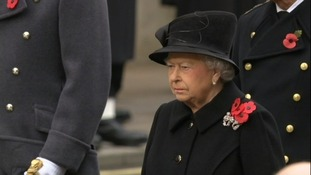 The Queen was the first to lay a wreath at the Cenotaph.