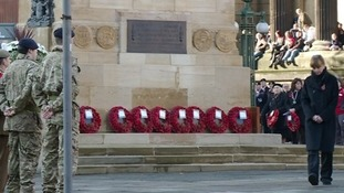 Wreaths are laid at the Cenotaph in the city centre