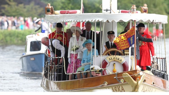 The Queen and Duke of Edinburgh aboard a passenger steamer