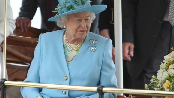 The Queen aboard the Alaska passenger steamer on the Thames
