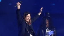 Ozzy Osbourne collects the Global Icon award from Slash during the 2014 MTV Europe Music Awards at The SSE Hydro, Glasgow, Scotland.