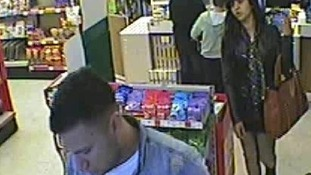 Police want to speak to a man and woman after poppy appeal collection box was stolen