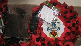 Vandalised poppy wreath