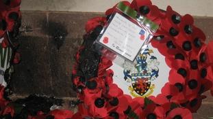 Vandalised poppy wreath