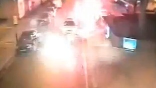 Shocking CCTV of yobs attacking police with fireworks