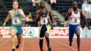 Michael Johnson (centre) competing at Crystal Palace in 1997