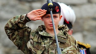 Cadet Harry Hayes salutes
