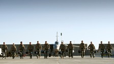 Aircrew From 31 Squadron make their final walk to their Tornado GR4s.