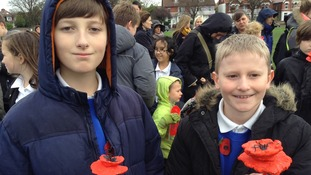 Pupils remember the fallen.