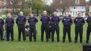 Staff and pupils of Broadwater School were joined by firemen for the commemoration service.