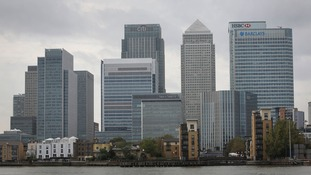 A general view of Canary Wharf on the Isle of Dogs in East London.