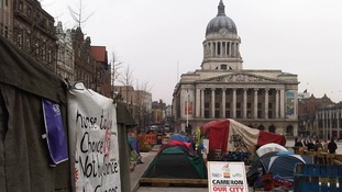 Dozens of protesters continue to camp in the Old Market Square