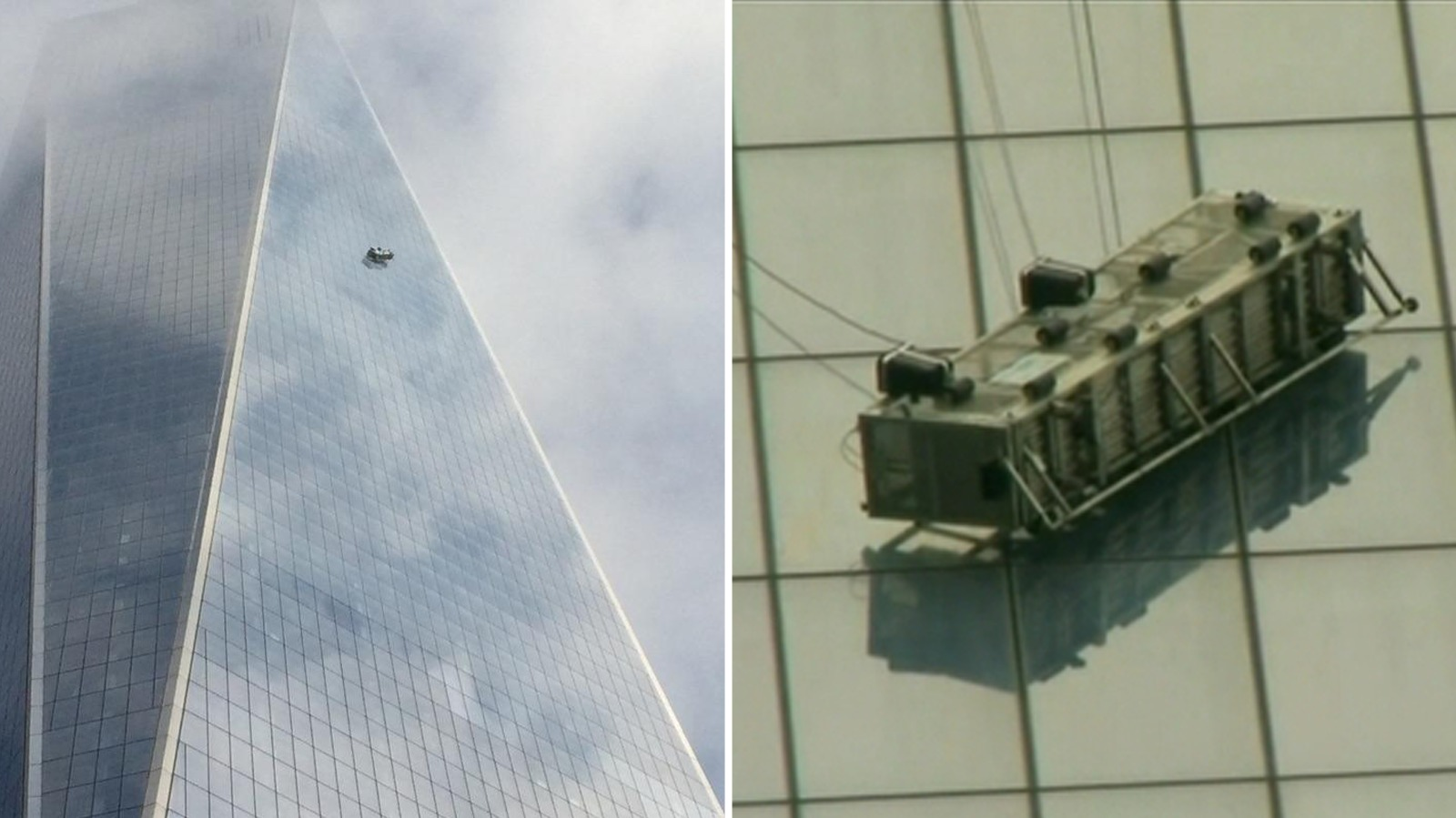 World Trade Center Air Cleaner : Window cleaners dangling half way up one world trade