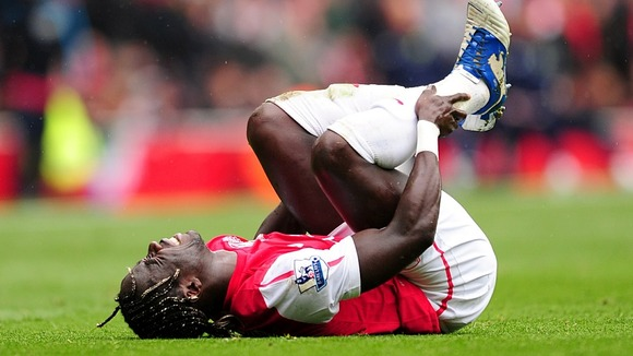 Arsenal's Bacary Sagna with the injury that ruled him out of Euro 2012.