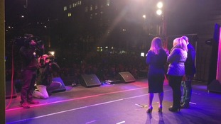 Calendar's Christine Talbot on stage for the Christmas Lights switch-on