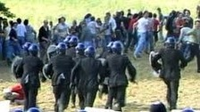 Police and miners clash in the