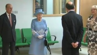 The Queen and Duke of Edinburgh are visiting a hospital in Enniskillen, as part of their two-day tour to Northern Ireland.