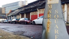A picture of Sneinton Market Square looking very run down