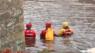 Emergency services search a section of the river at Whorral Bank, Morpeth.