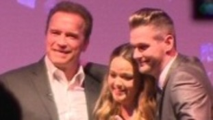 Dean Goulding got up on stage with Arnold Schwarzenegger to propose