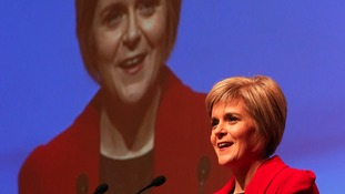 Newly appointed SNP leader Nicola Sturgeon during her speech at the annual party conference at Perth Concert Hall, Scotland.