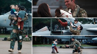 Emotional family reunions as RAF Tornado pilots return home from Afghanistan
