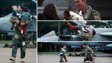 Pets, wives and children were reunited with their loved ones.
