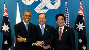 Barack Obama, Tony Abbott, and Shinzo Abe