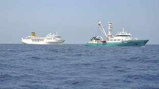 The Costa Allegra being towed by French fishing vessel, The Trevignon, in the Indian Ocean