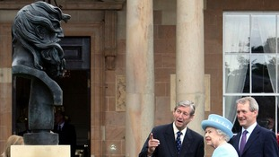 Her Majesty with Secretary of State for Northern Ireland Owen Paterson (right) at Hillsborough Castle, County Down.