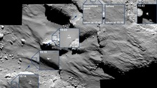 The series of photos capture the 30 minutes since Philae touched the comet last Wednesday.