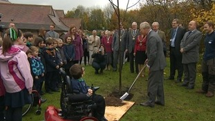 Prince Charles planted a tree at the school