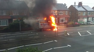 The van on fire on Luton Road in Dunstable