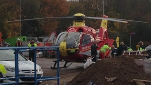 The Midlands Air Ambulance on the scene in Redditch earlier